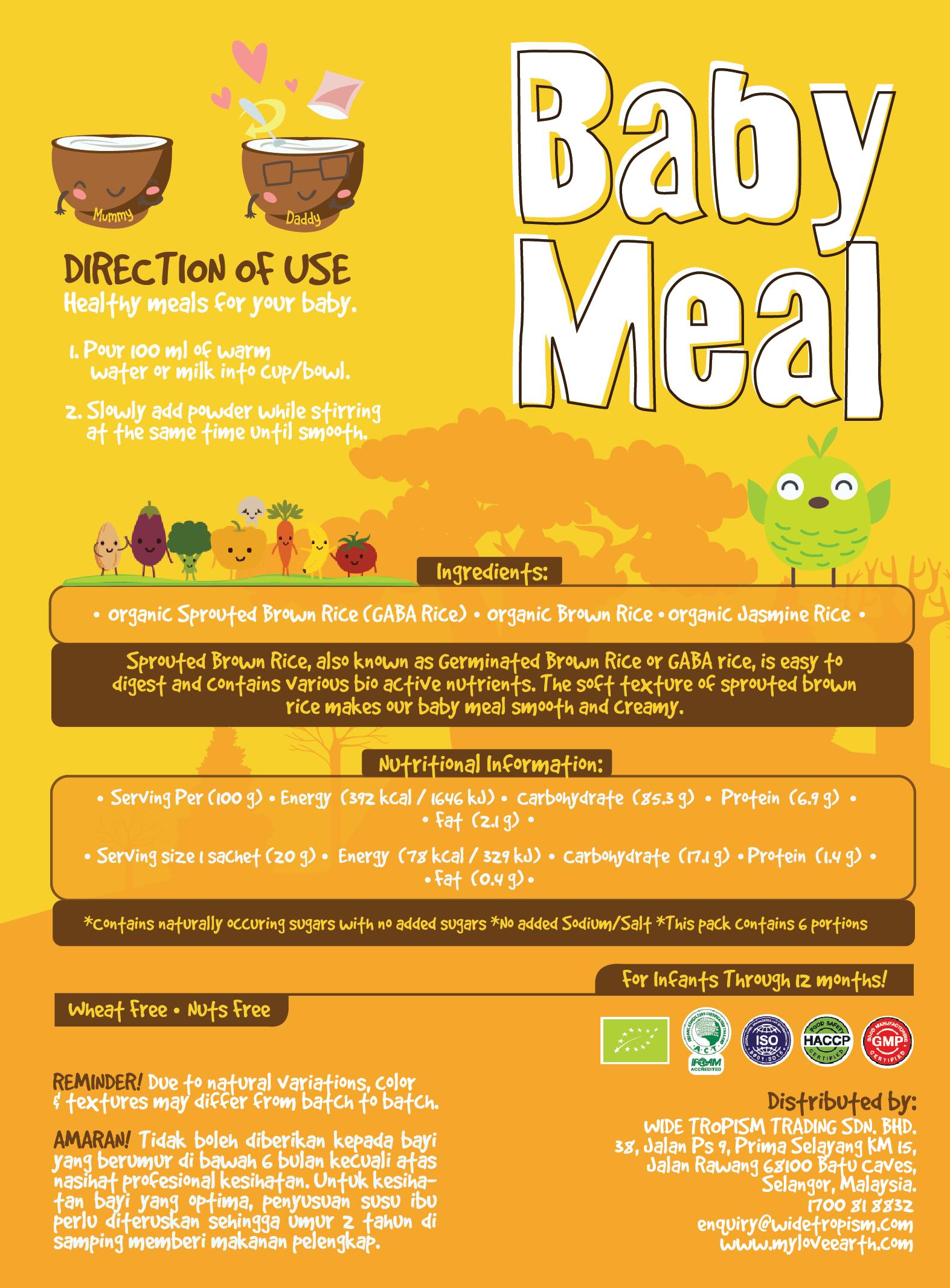 Love Earth Organic Baby Meal Original (6 Sachet 120g)