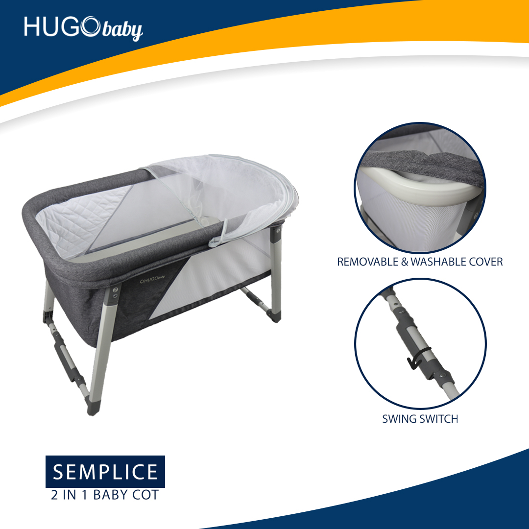 Hugo Baby Semplice 2 in 1 Foldable Baby Rocking Crib (Brown)