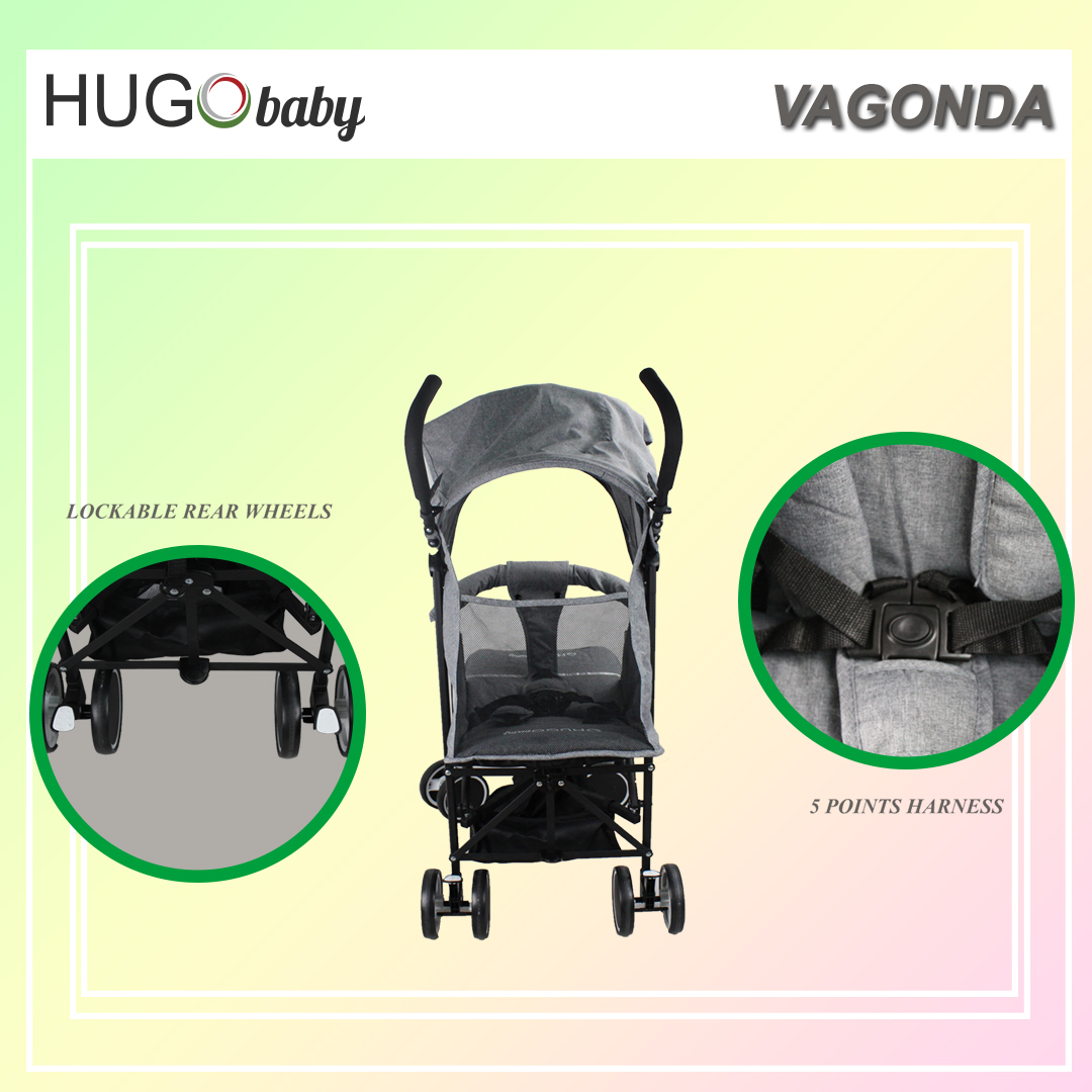 Hugo baby Vagonda Umbrella Portable Baby Stroller - Suitable From New Born to 3 Years Old (BLUE)