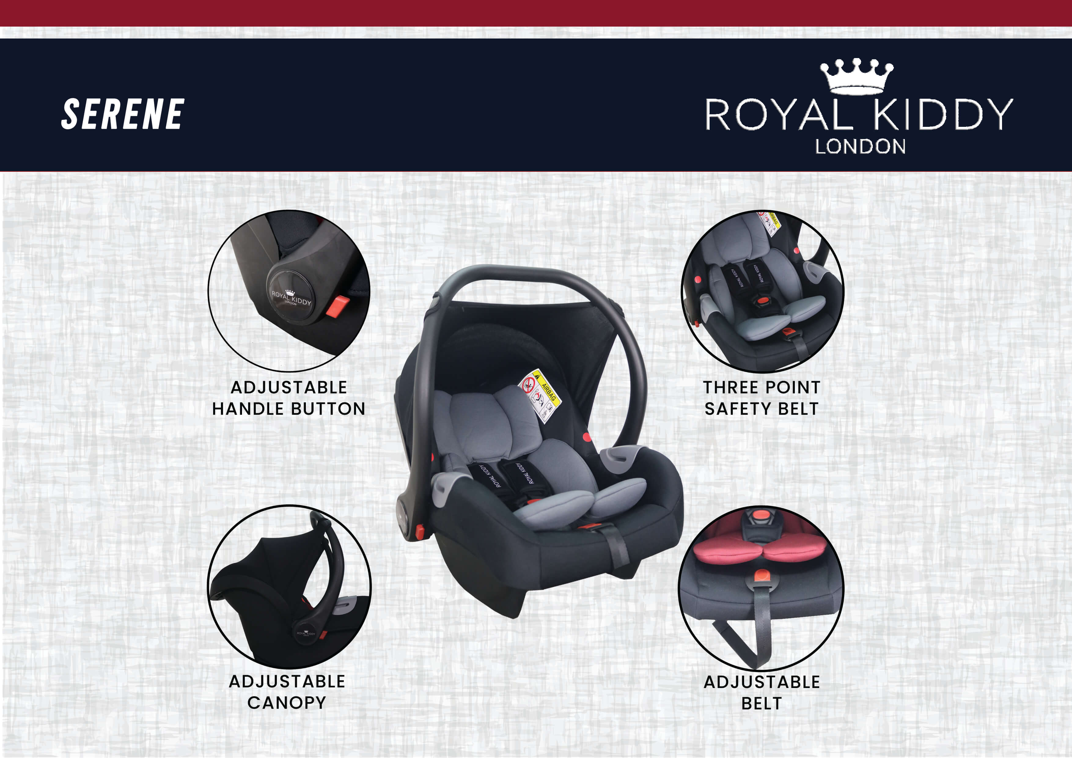 Royal Kiddy London Serene Infant Carseat (Red)