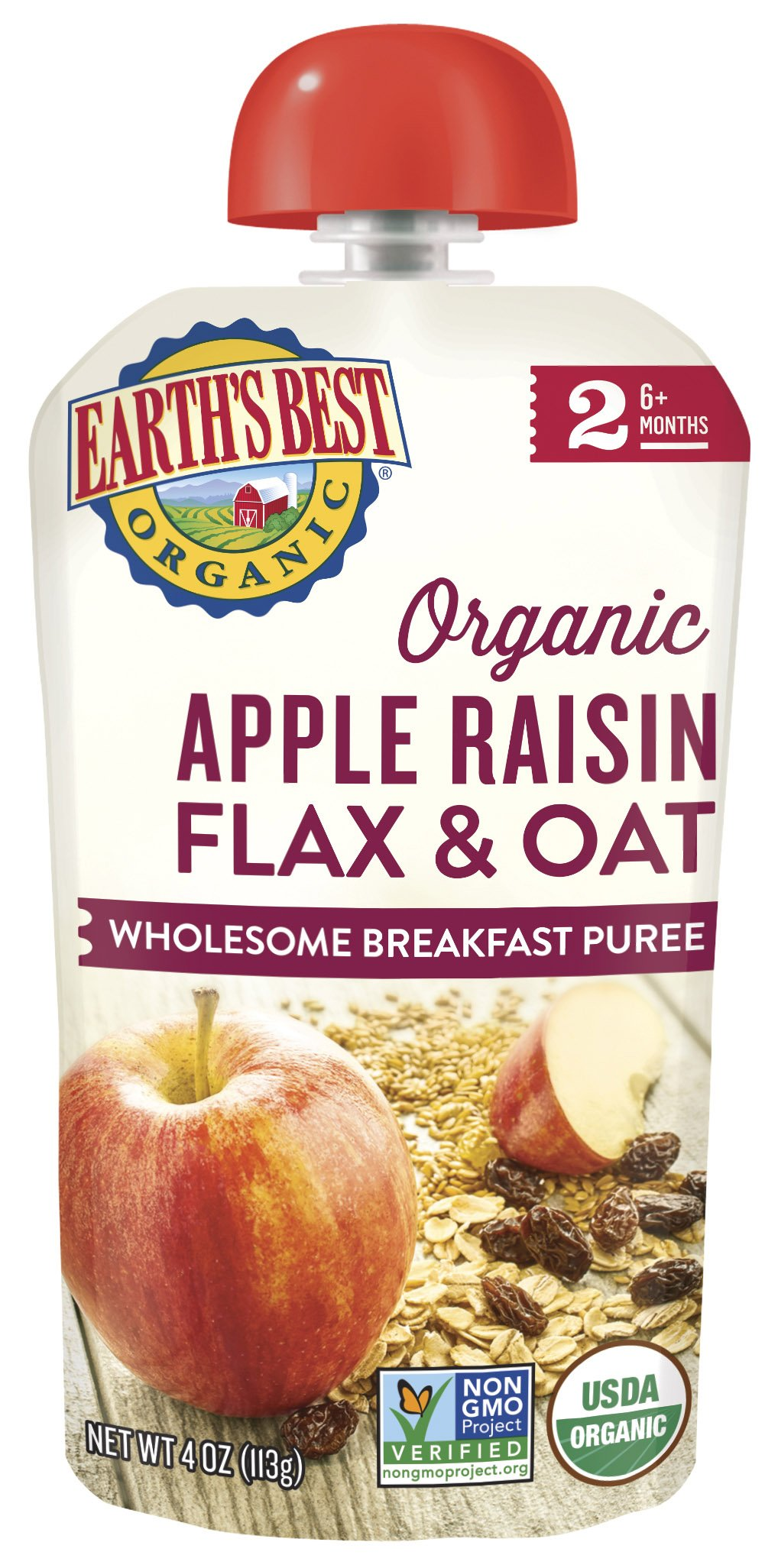 Earth's Best Organic Apple Raisin Flax & Oat Wholesome Breakfast Puree Puree (6mth+)