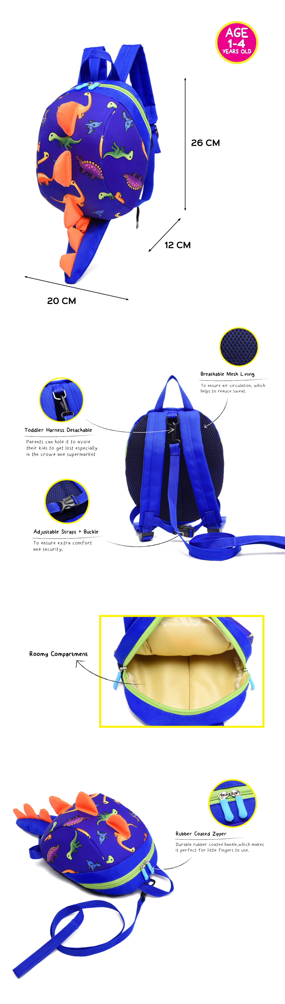 Cheekaaboo Cute DINO Backpack with Safety Harness (Navy Blue / Dino)