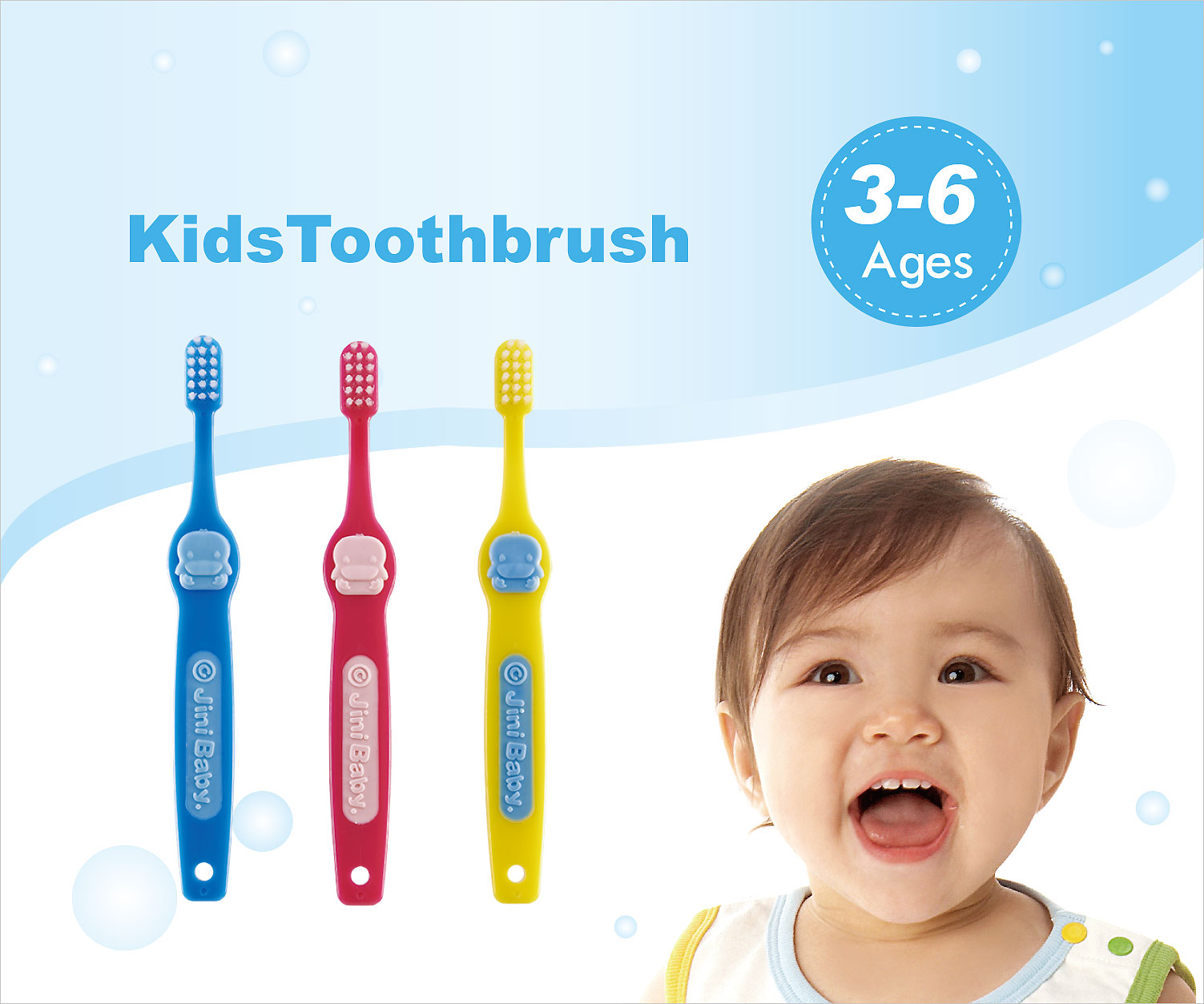Kuku Duckbill KU5413 Kid's Toothbrush -3Pcs  For Age  6 Years Old Up