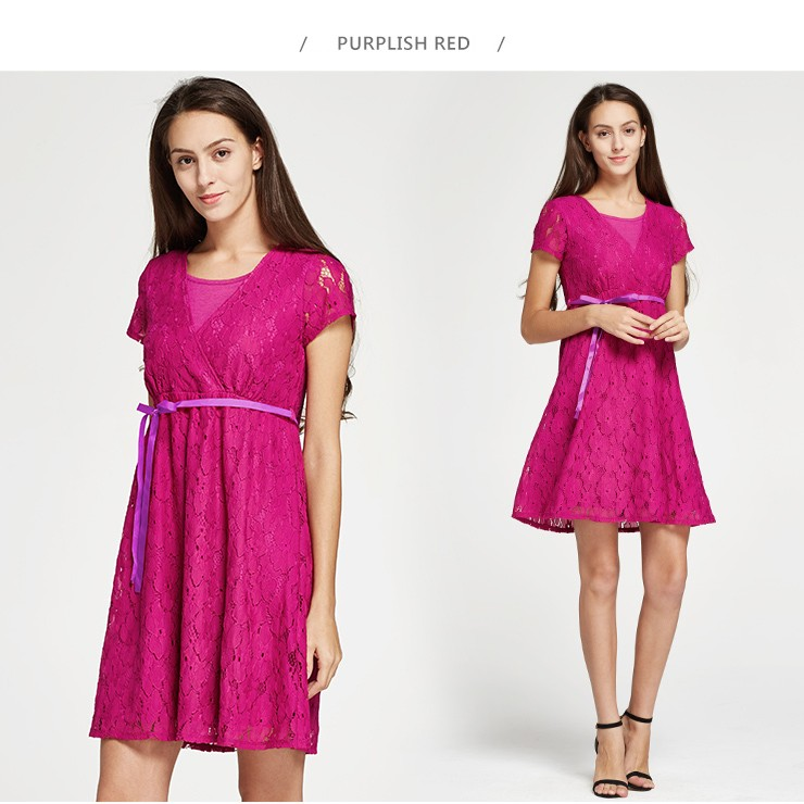 Lace Cross-over Maternity & Nursing Dress